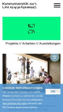 Vorschau der mobilen Webseite www.ufg.ac.at, Institut für Kunst und Gestaltung (TEXTIL)