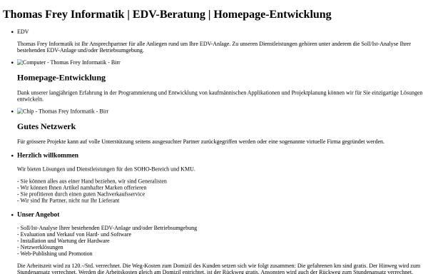 Vorschau von www.freyinformatik.ch, Thomas Frey Informatik