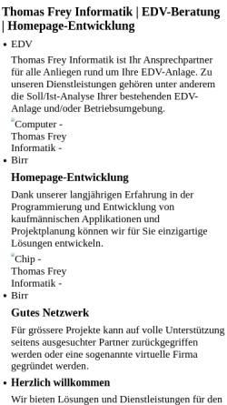 Vorschau der mobilen Webseite www.freyinformatik.ch, Thomas Frey Informatik