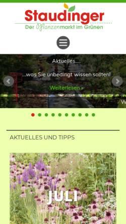 Vorschau der mobilen Webseite www.staudinger-pflanzen.de, Staudinger Pflanzenmarkt