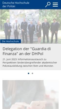 Vorschau der mobilen Webseite www.dhpol.de, Deutsche Hochschule der Polizei (DHPol)