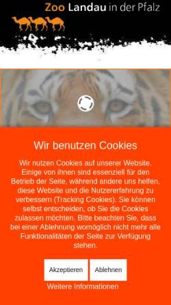 Vorschau der mobilen Webseite www.zoo-landau.de, Zoo Landau in der Pfalz