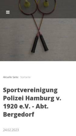Vorschau der mobilen Webseite svpolizei-bergedorf.de, SV Polizei Bergedorf