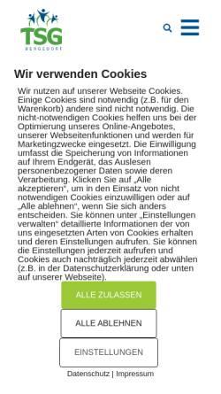 Vorschau der mobilen Webseite www.tsg-bergedorf.de, TSG (Turn- und Sportgemeinschaft Bergedorf von 1860 e. V.)