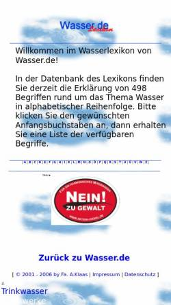 Vorschau der mobilen Webseite lexikon.wasser.de, Wasser.se Lexikon
