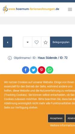 Vorschau der mobilen Webseite www.sylt-pur-erleben.de, Ferienhaus Dirk Wollgram