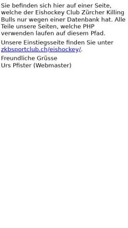 Vorschau der mobilen Webseite www.killingbulls.ch, EHC Zürcher Killing Bulls