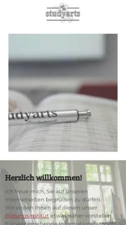 Vorschau der mobilen Webseite www.studyarts.de, Studyarts