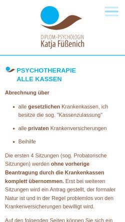 Vorschau der mobilen Webseite www.psychotherapie-fuessenich.de, Dipl.-Psychologin Katja Füßenich