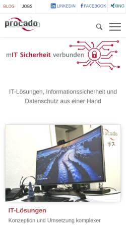 Vorschau der mobilen Webseite www.procado.de, procado Consulting, IT- & Medienservice GmbH