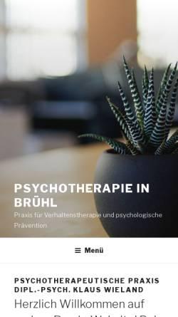 Vorschau der mobilen Webseite www.wieland-psychotherapie.de, Praxis für Verhaltenstherapie und Psychologische Prävention