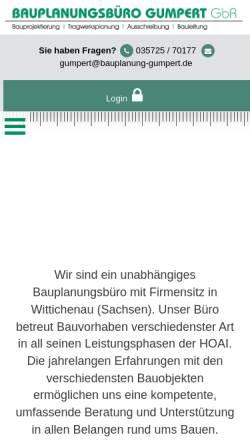 Vorschau der mobilen Webseite www.bauplanung-gumpert.de, Gumpert, Udo