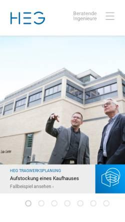 Vorschau der mobilen Webseite www.ingenieure-heg.de, HEG Beratende Ingenieure GmbH