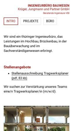 Vorschau der mobilen Webseite www.ibb-weimar.de, IBB Ingenieurbüro Bauwesen Krüger, Jungmann & Partner GmbH