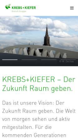 Vorschau der mobilen Webseite www.kuk.de, Krebs und Kiefer, Beratende Ingenieure für das Bauwesen, GmbH