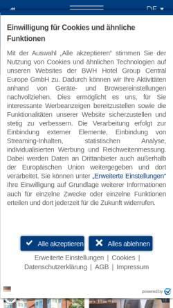 Vorschau der mobilen Webseite www.bestwestern.de, Best Western Hotel Prisma