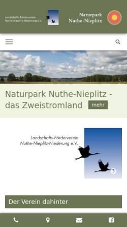 Vorschau der mobilen Webseite www.naturpark-nuthe-nieplitz.de, Naturpark Nuthe-Nieplitz