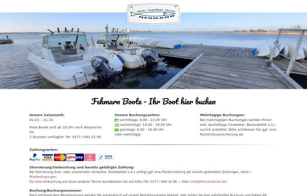 Vorschau von www.fehmarn-boote.de, Apartment- und Bootsvermietung Sanner