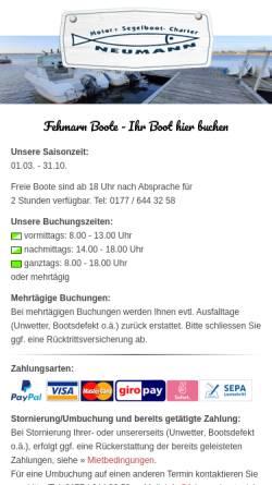 Vorschau der mobilen Webseite www.fehmarn-boote.de, Apartment- und Bootsvermietung Sanner