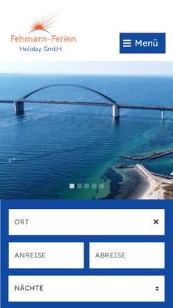 Vorschau der mobilen Webseite www.fehmarn-ferien.de, Fehmarn-Ferien, Norbert Reimer / Karin Hamann