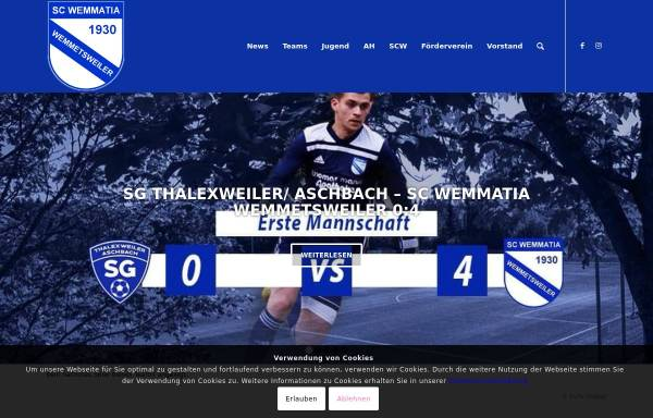 Vorschau von www.scwemmetsweiler.de, SC Wemmatia 1930, Jugendabteilung