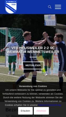 Vorschau der mobilen Webseite www.scwemmetsweiler.de, SC Wemmatia 1930, Jugendabteilung