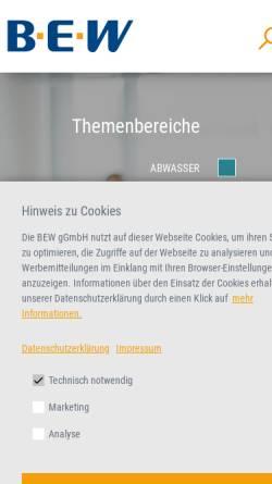 Vorschau der mobilen Webseite www.bew.de, Bildungszentrum für die Entsorgungs- und Wasserwirtschaft GmbH