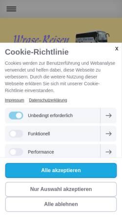 Vorschau der mobilen Webseite www.wrase-reisen.de, Wrase, Ulrich