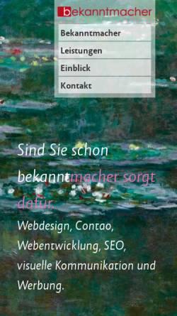 Vorschau der mobilen Webseite bekanntmacher.ch, S. Wohler