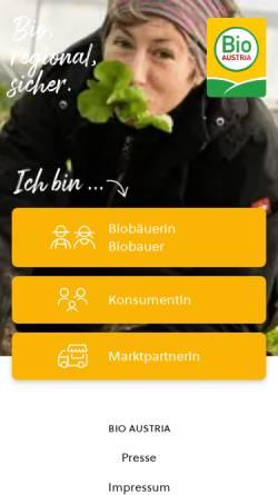 Vorschau der mobilen Webseite www.bio-austria.at, Bio Austria