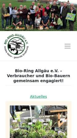 Vorschau der mobilen Webseite www.bioring-allgaeu.de, Bio-Ring Allgäu e.V.