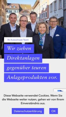 Vorschau der mobilen Webseite www.aarauinvest.ch, AarauInvest AG