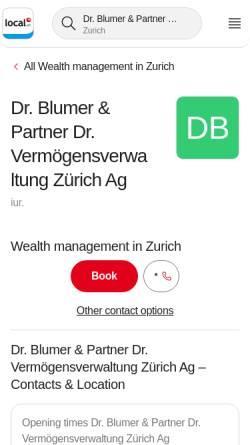 Vorschau der mobilen Webseite www.dr-blumer.ch, Dr. Blumer & Partner Consulting AG