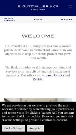 Vorschau der mobilen Webseite www.gutzwiller.ch, E. Gutzwiller & Cie, Banquiers