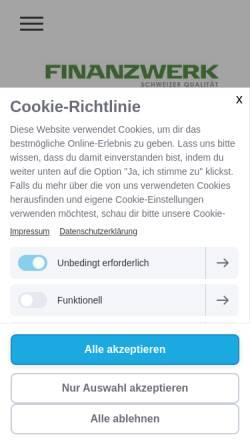 Vorschau der mobilen Webseite www.finanzwerk.ch, Finanzwerk AG