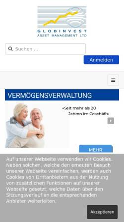 Vorschau der mobilen Webseite www.globinvest.com, Globinvest Asset Management AG