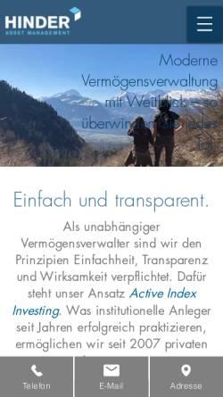 Vorschau der mobilen Webseite www.hinder-asset.ch, Hinder Asset Management AG