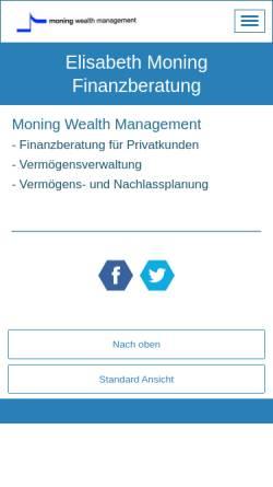Vorschau der mobilen Webseite www.moning.ch, Moning Finanzberatung, Inh. Elisabeth Moning
