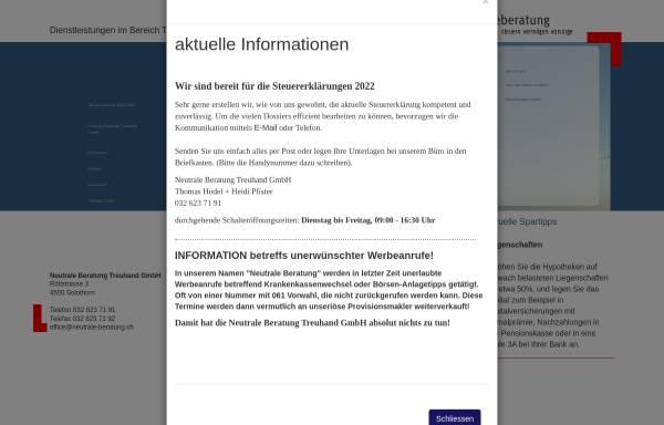 Vorschau von www.neutrale-beratung.ch, Neutrale Beratung Treuhand GmbH