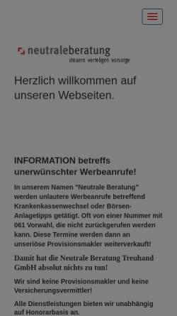 Vorschau der mobilen Webseite www.neutrale-beratung.ch, Neutrale Beratung Treuhand GmbH
