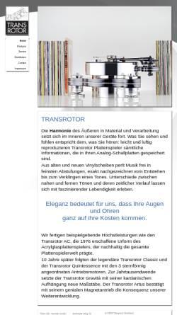 Vorschau der mobilen Webseite www.transrotor.de, Transrotor, Räke Hifi/Vertrieb GmbH
