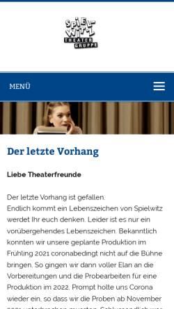 Vorschau der mobilen Webseite www.spielwitz.ch, St. Gallen, Theatergruppe Spielwitz