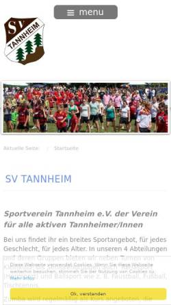 Vorschau der mobilen Webseite www.sv-tannheim.de, SV Tannheim