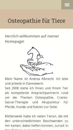 Vorschau der mobilen Webseite www.osteopathie-fuer-tiere.de, Pferde- und Hundeosteopathie