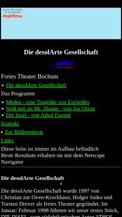 Vorschau der mobilen Webseite www.angelfire.com, desolArte Gesellschaft