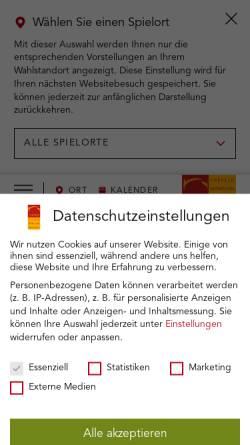 Vorschau der mobilen Webseite www.theater-krefeld-moenchengladbach.de, Vereinigten Städtischen Bühnen Krefeld und Mönchengladbach