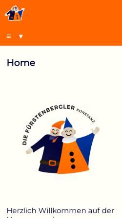 Vorschau der mobilen Webseite www.fuerstenbergler.de, Fürstenbergler Narrengesellschaft