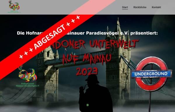 Vorschau von www.mainauer-paradiesvoegel.de, Hofnarrenzunft Mainauer Paradiesvögel e.V.