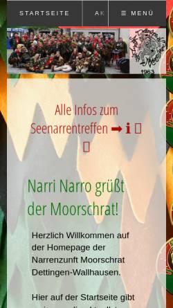 Vorschau der mobilen Webseite www.moorschrat.de, Narrenzunft Moorschrat Dettingen Wallhausen e.V.