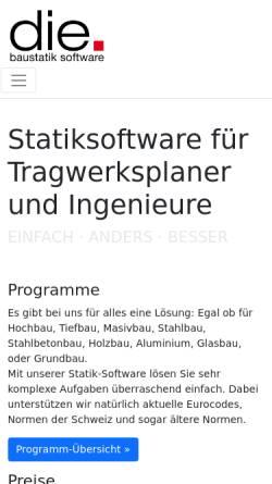 Vorschau der mobilen Webseite www.die.de, D.I.E. CAD und Statik GmbH